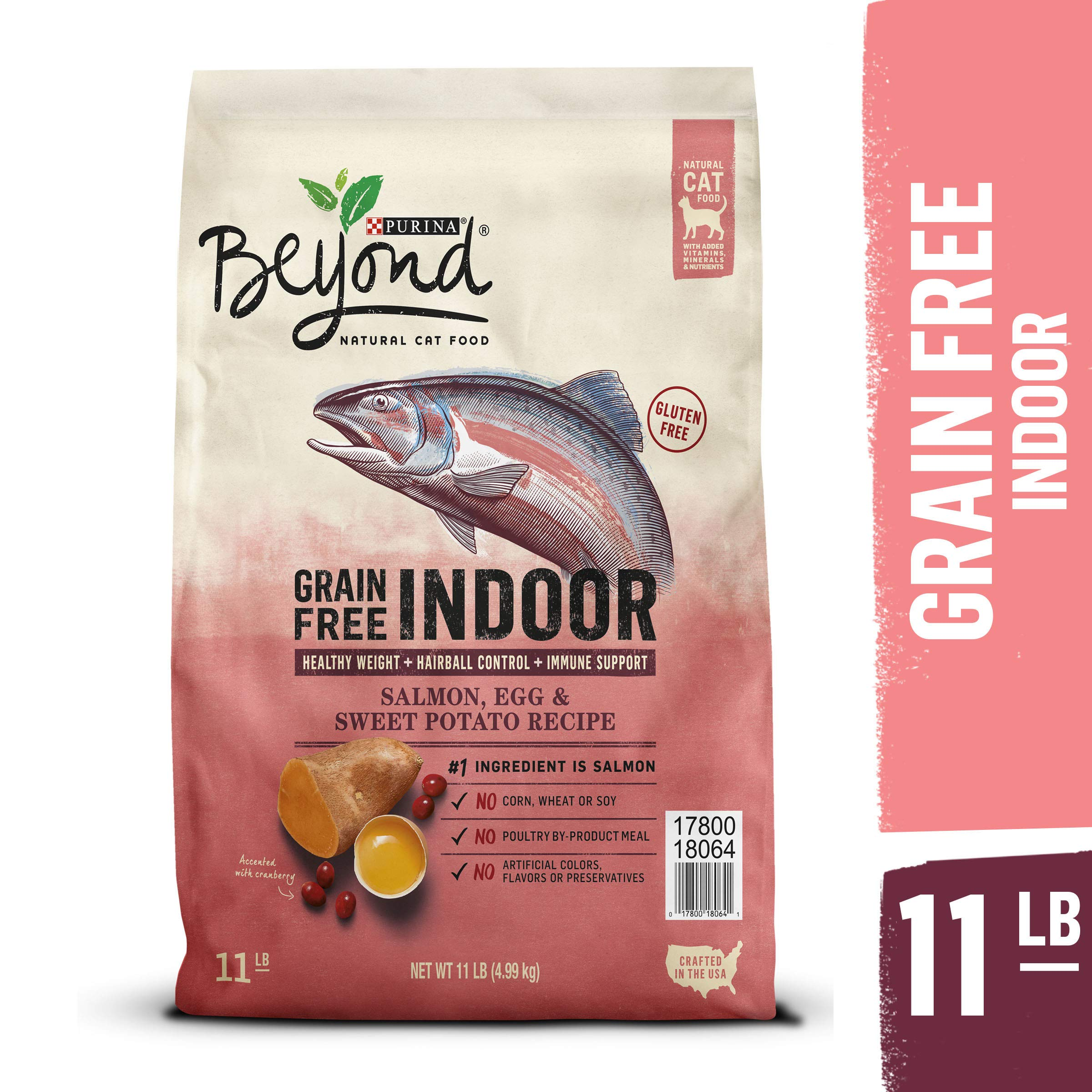 Purina Beyond Indoor, Grain Free, Natural Dry Cat Food, Grain Free Salmon, Egg & Sweet Potato Recipe - 11 lb. Bag by Purina Beyond
