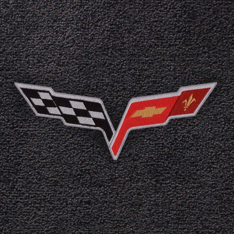 Ebony Velourtex Fabric with Crossed Flags Logo Embroidery Lloyd Mats V0500962 Fits 2007.5-2013 C6 Corvette Driver /& Passenger Floor Mats Set; Black