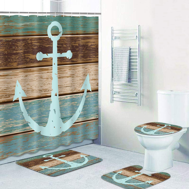 Nautical Anchor Bath Mat Toilet Cover Rugs Shower Curtain Bathroom Decor