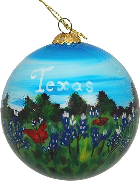 Hand Painted Texas Bluebonnet Glass Ornament