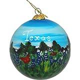 Hand Painted Glass Christmas Ornament - Texas Bluebonnets & Butterflies