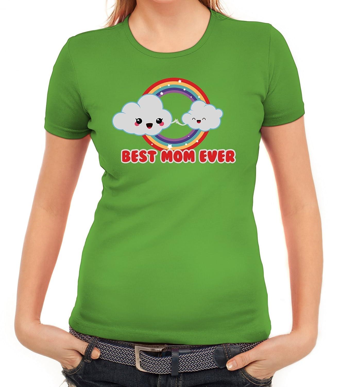 Geschenkidee Damen T-Shirt mit Cloud Best Mom Ever von ShirtStreet:  Amazon.de: Bekleidung