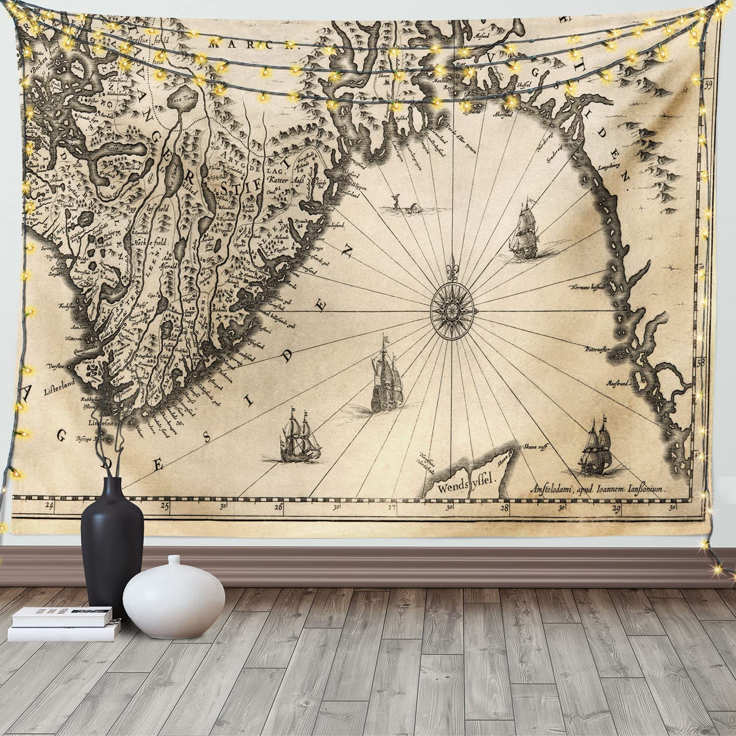 Ambesonne World Map Tapestry, Map of Southern Part of The Norway Vikings World Old Scandinavian Land, Wide Wall Hanging for Bedroom Living Room Dorm, 60