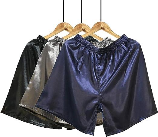 Herren Satin Shorts Boxershorts Nachtwäsche Unterwäsche Unten Kunstseide Pyjamas