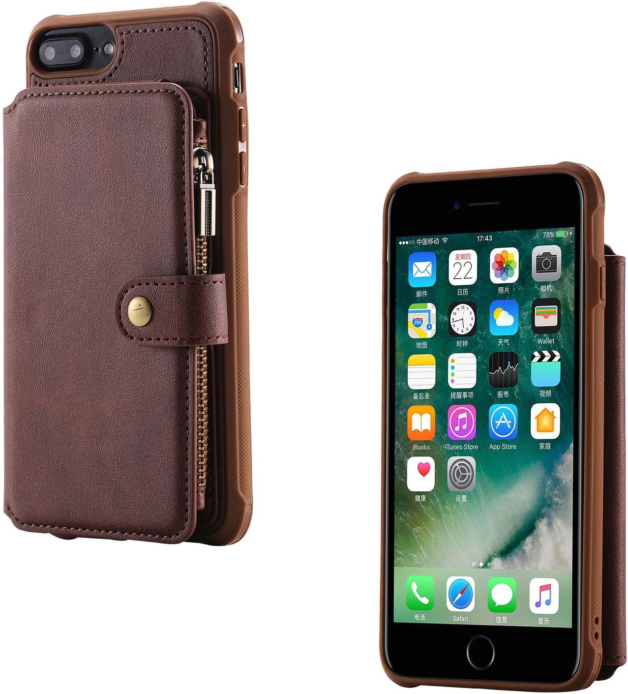 Techcircle iPhone 8 Plus Wallet Case, iPhone 7 Plus Wallet Case Premium Leather Flip Stand Cover Case with Card Holder [Magnets] Zipper Pocket Case for Apple iPhone 8 Plus/iPhone 7 Plus - Coffee