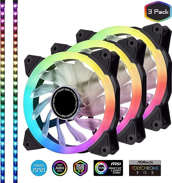 EZDIY-FAB 3-Pack 120mm Ventilador RGB silencioso direccionable PWM con Tiras de Leds Sincronización de Placa Base, Ventiladores Ajustables de Colores Controlador: Amazon.es: Electrónica
