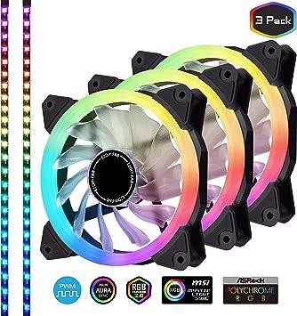 EZDIY-FAB 3-Pack 120mm Ventilador RGB silencioso direccionable PWM ...