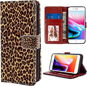 Leopard Print Wallet Case Fit for iPhone 7 Plus(7+ iPhone 8 Plus (8+) 5.5 Version with Magnetic