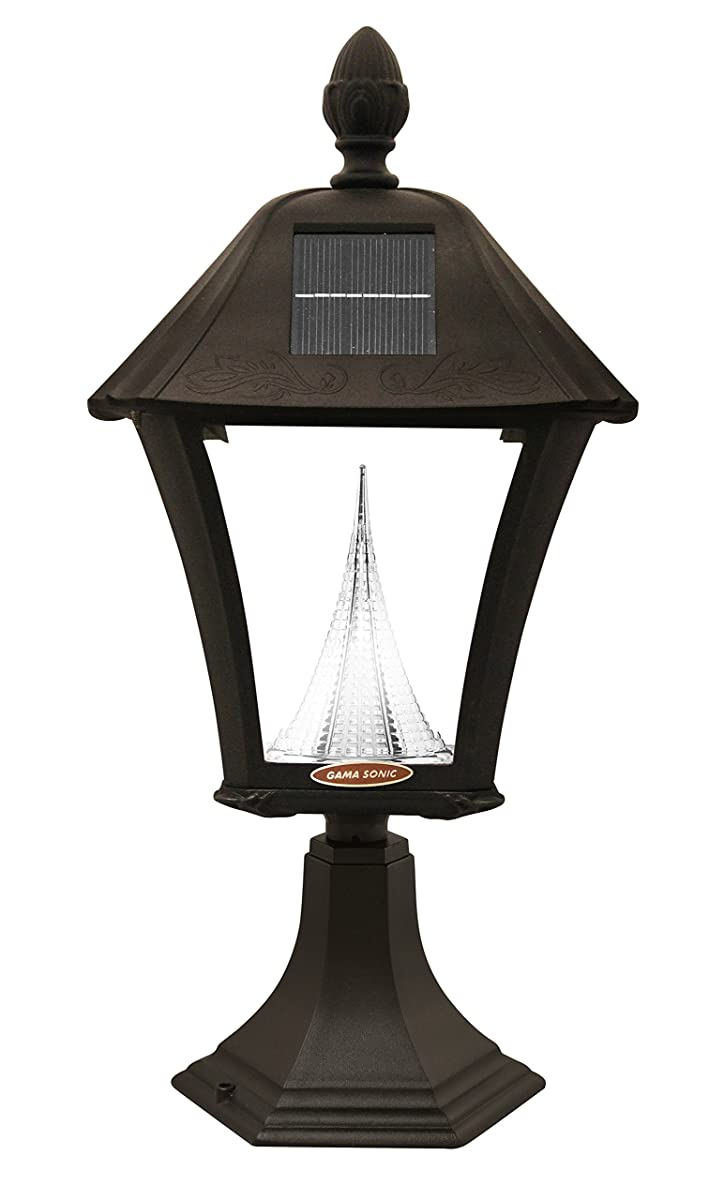 Gama Sonic Baytown Solar Outdoor Lamp GS-106FPW-B - Pole/Pier/ Wall Mount Kit - Black Finish