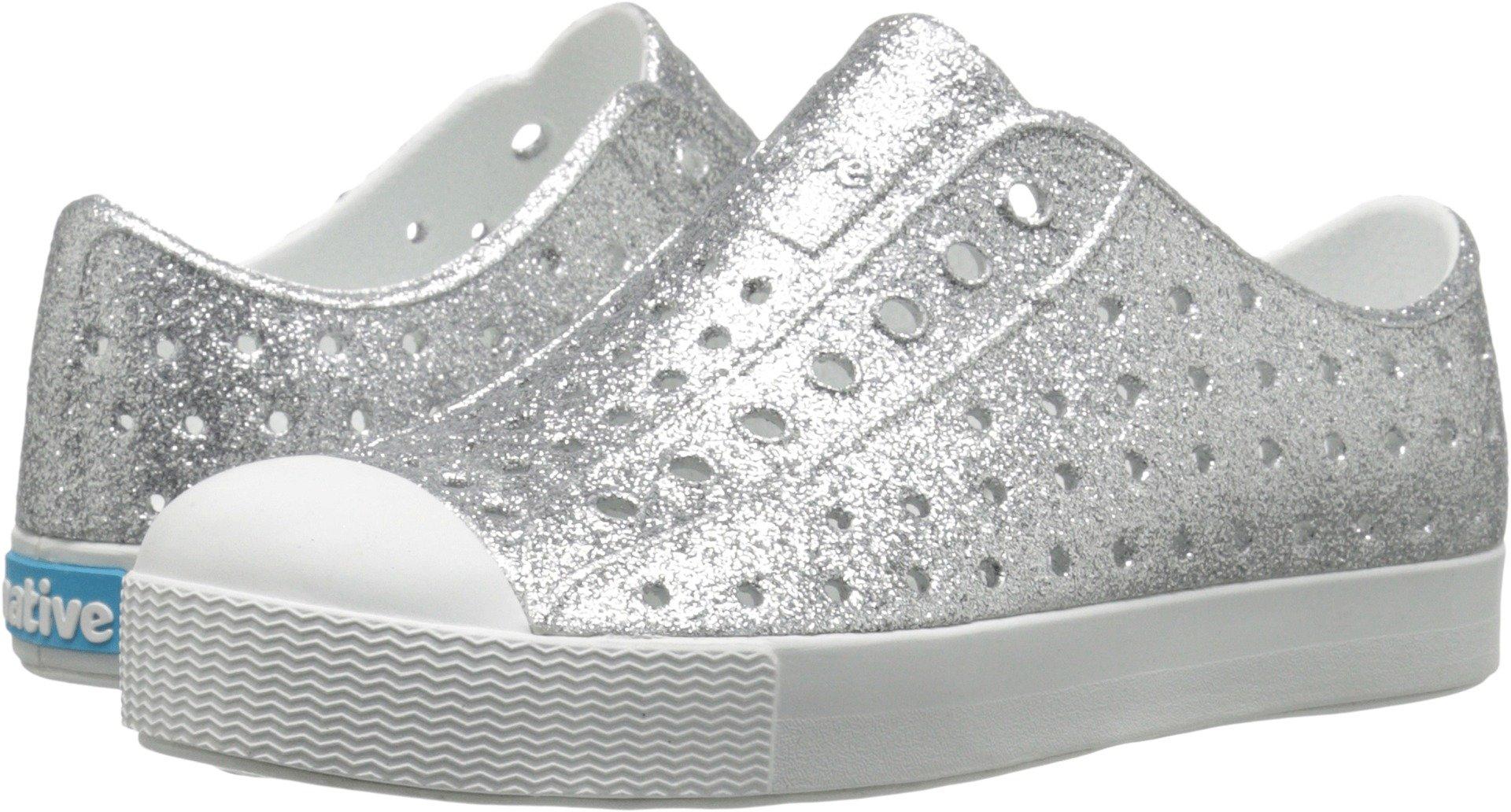 Native Shoes Girls' Jefferson Junior-K Slip-On Silver Bling Glitter/Shell White J3 M US Little Kid