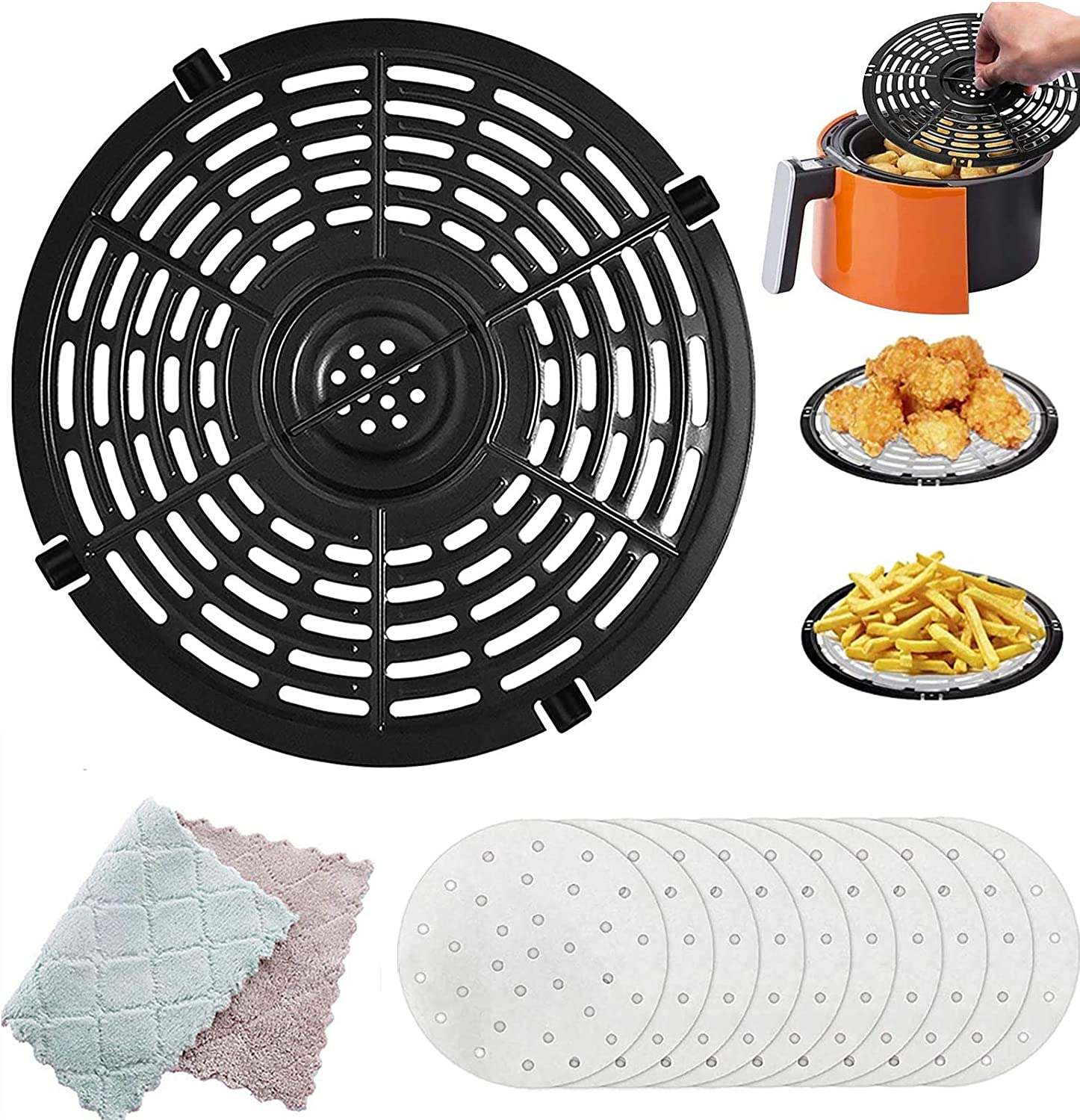 Air Fryer Replacement Grill Pan, Air Fryer Accessories,Non-Stick Fry Pan For Make French Fries, Pizza, Chicken Wings, Steak and so on(Free cleaning cloth and filter paper)