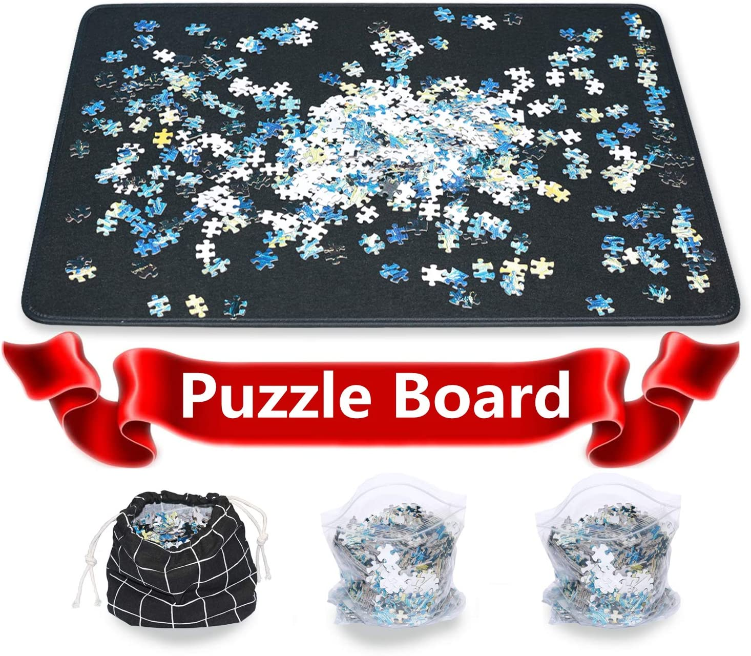 Jigsaw Puzzle Mat Puzzle Board Smooth Puzzle Plateau Portable Board Easy Move Storage Work Separate Jigsaw Mat Board up to 1000 Pieces by Ditome