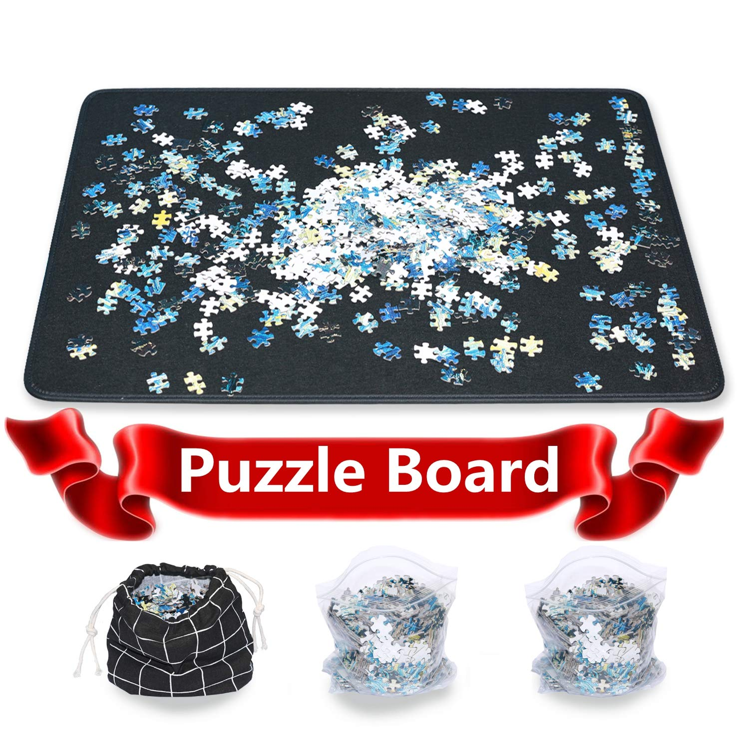 Jigsaw Puzzle Mat Puzzle Board Smooth Puzzle Plateau Portable Board Easy Move Storage Work Separate Jigsaw Mat Board up to 1000 Pieces by Ditome by Ditome