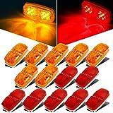 Partsam 14x Trailer Marker LED Light Double Bullseye 10 Diodes Clearance Light Red/Amber, 4x2 Tiger Eye/Double Bubble 12V Rectangular LED Side Marker Light Indicators Surface Mount RV Camper Trucks