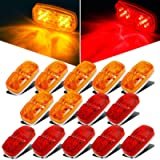 Partsam 14x Trailer Marker LED Light Double Bullseye 10 Diodes Clearance Light Red/Amber, 4x2 Tiger Eye / Double Bubble…