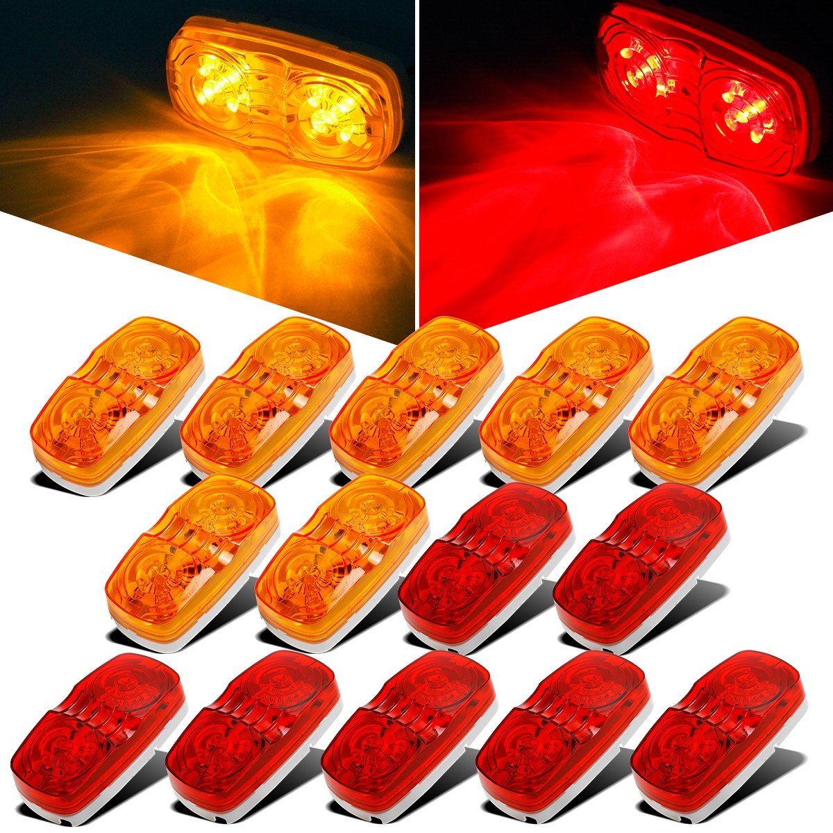 Partsam 14x Trailer Marker LED Light Double Bullseye 10 Diodes Clearance Light Red/Amber, 4x2 Tiger Eye/Double Bubble 12V Rectangular LED Side Marker Light Indicators Surface Mount RV Camper Trucks by Partsam