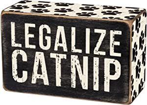 Primitives by Kathy 31139 Paw Print-Trimmed Box Sign, 4 x 2.5-Inches, Legalize Catnip