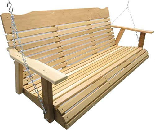 Kilmer Creek 5 Foot Natural Cedar Porch Swing, Amish Crafted, Includes Chain Springs
