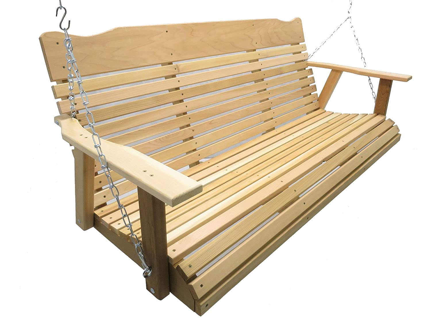 Kilmer Creek 5 Natural Cedar Porch Swing, Amish Crafted – Includes Chain Springs