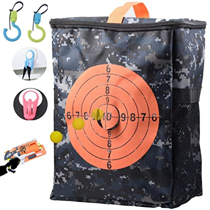 For Nerf Guns Target Set, Storage Bag with Carrying Strap Zippered Pouch  4Pcs Hang Hooks ...