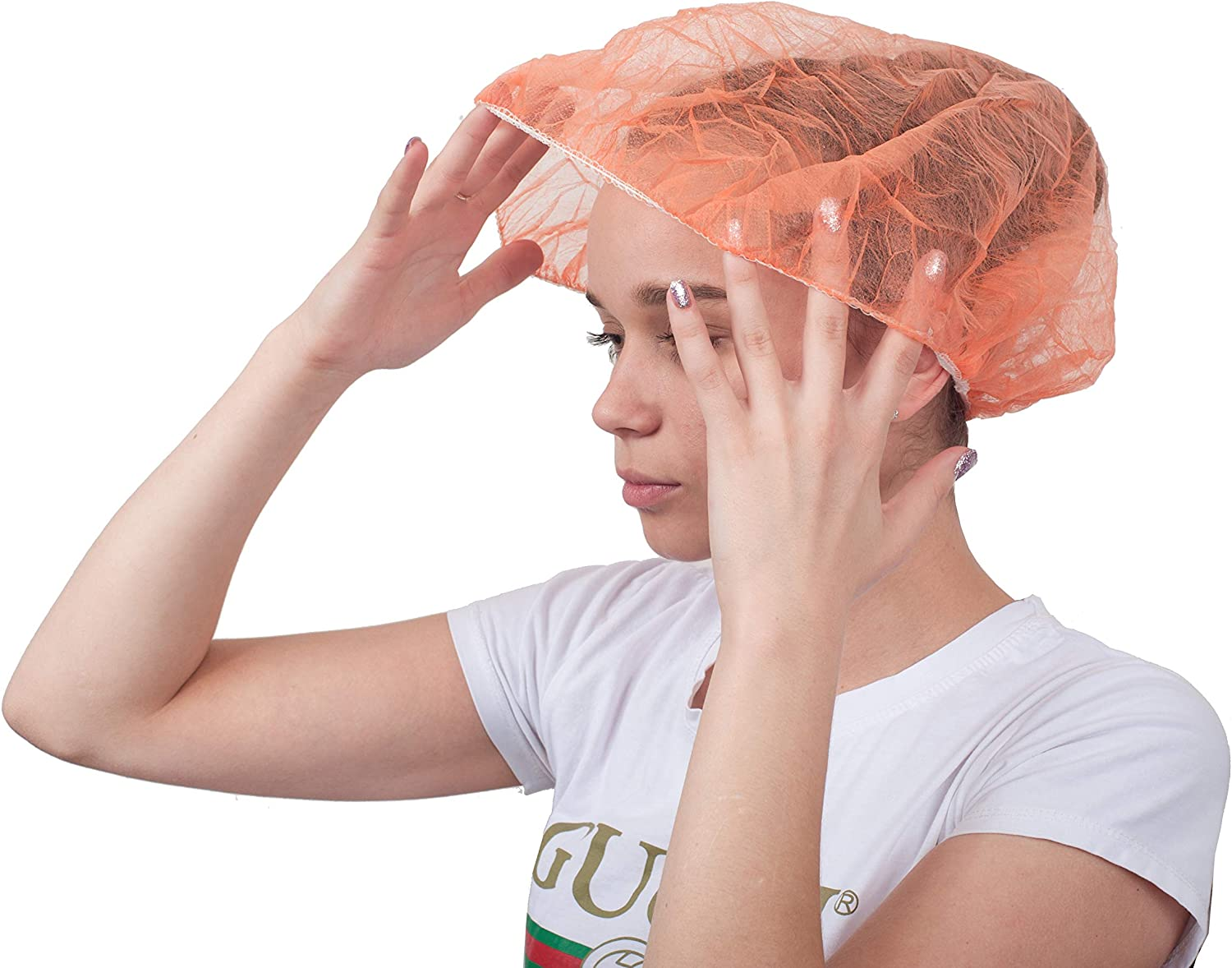 """100 Pack Orange Bouffant Caps 21"""". Non Woven Hair Caps with elastic stretch band. Disposable Polypropylene Hats. Unisex Protective Hair Covers for food service use. Breathable, Lightweight."""