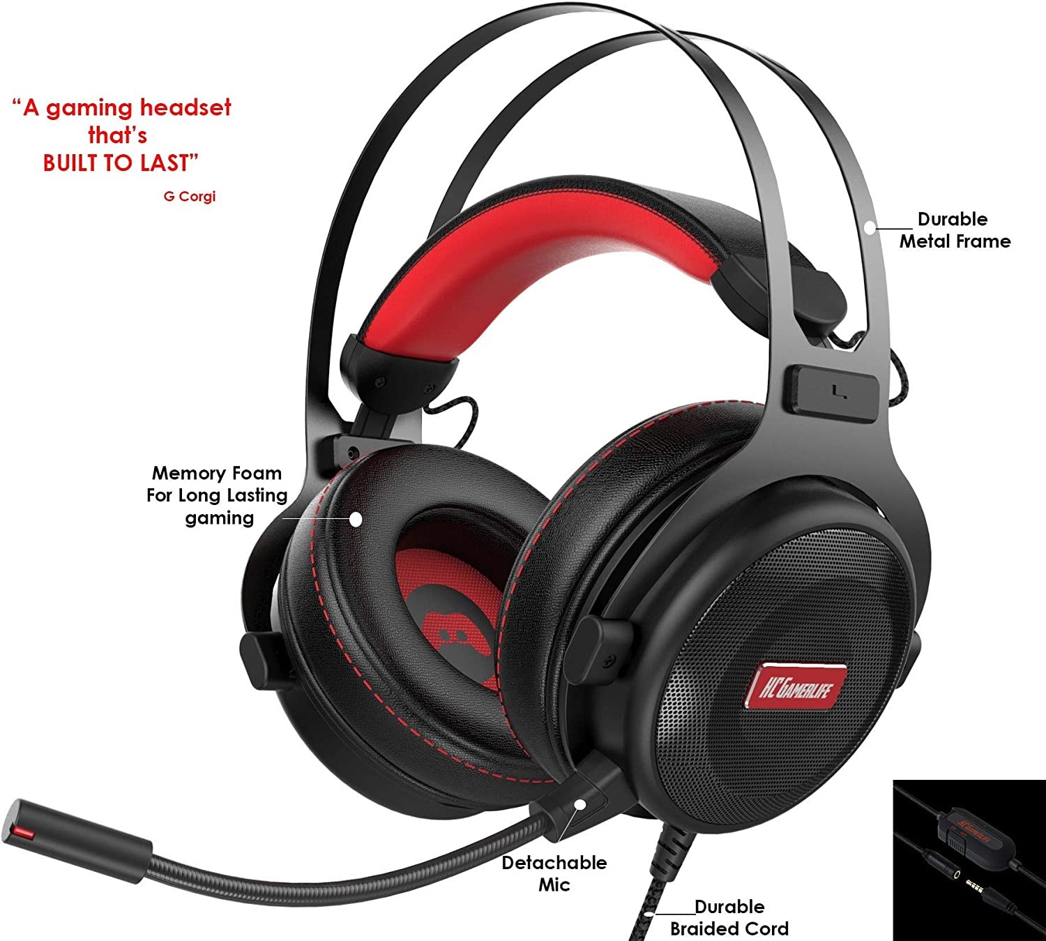 Gaming Headset with Microphone | Premium 3D HD Stereo Sound Video Gaming Wired Headphones for PS4 Console, Xbox One, Switch, PC, Laptop | 3.5mm Audio | Playstation 4 Accessories by HC Gamer Life
