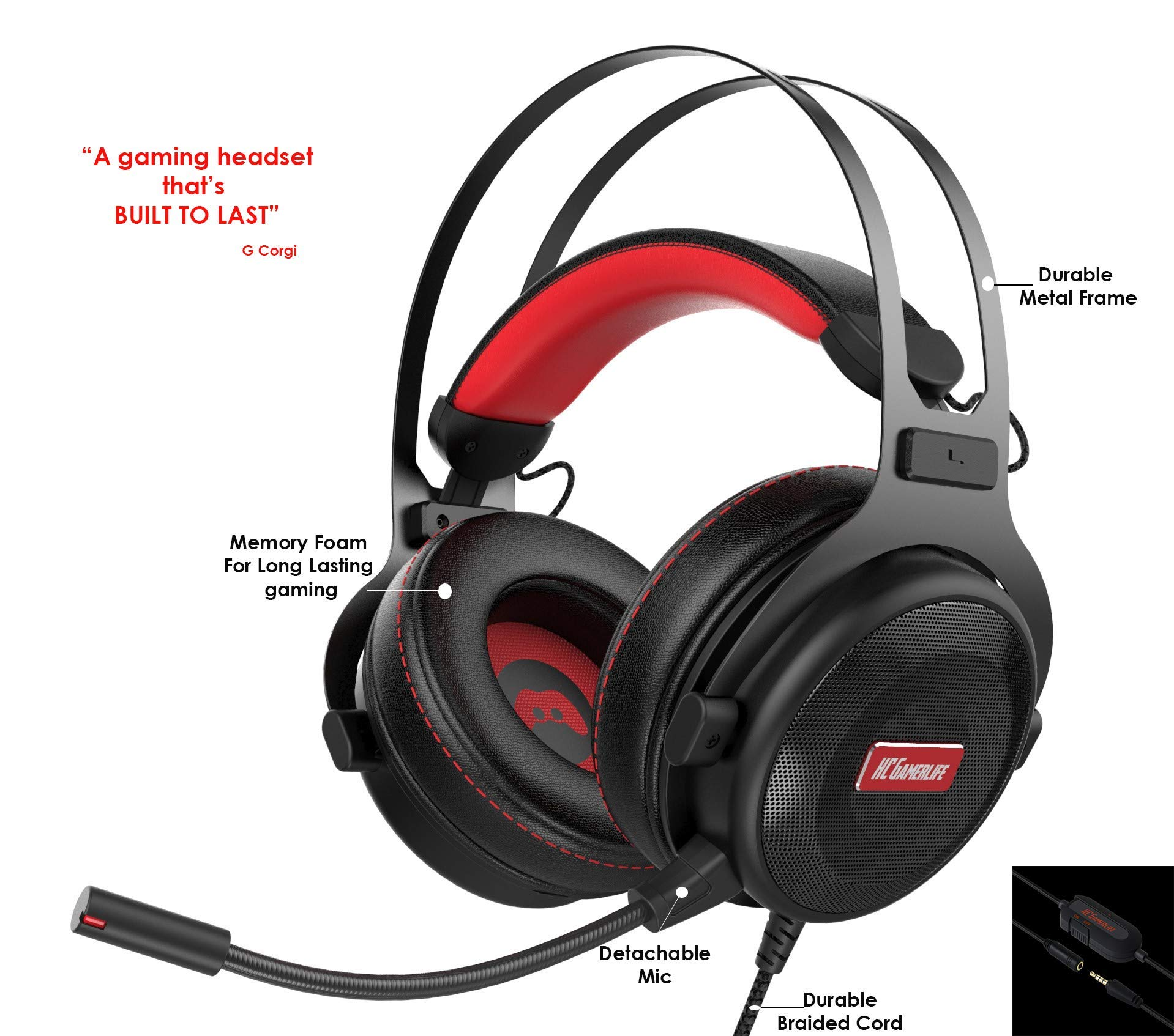 Pro Gaming Headset with Mic (Universal) | Game Changing Premium 3D HD Stereo Sound Video Gamer Wired Headphones for Xbox One, PS4, PC, Laptop and Mobile Device | 3.5mm Connection | HC Gamer Life by HC GAMERLIFE