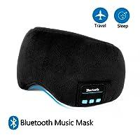 Schlafmaske mit Bluetooth,LC-dolida Augenmaske mit kopfhörern Eye Mask Sleep für Reisen mit Dem Flugzeug Schlafen Maske mit Bluetooth Headset für iPhone, Android Handys, iPad, Tabletten (Schwarz)