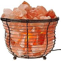 Himalayan Glow Natural Salt 8 Inch Tall Round Basket Lamp
