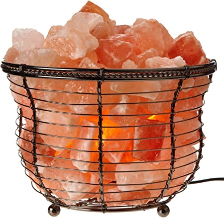 Natural Himalayan Salt Lamp Tall Round Metal Basket Lamp With Dimmer Switch 8 10 Lbs