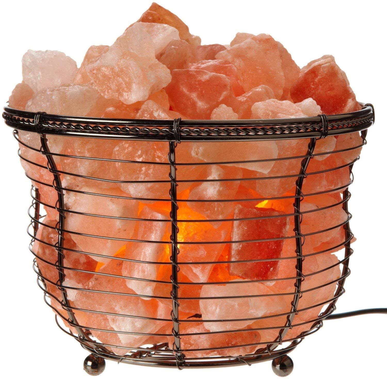 Himalayan Glow HS-1301B Tall Round Natural Salt Lamp 8-10 LBS Amber Glow