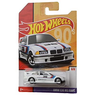 Hot Wheels BMW E36 M3 Race 6/8, White: Toys & Games