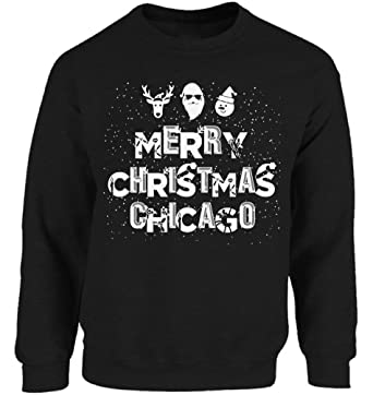 Vizor Merry Christmas Chicago Sweatshirt Chicago Ugly Christmas Sweater for  Men and Women Xmas Gifts Black cf6488669