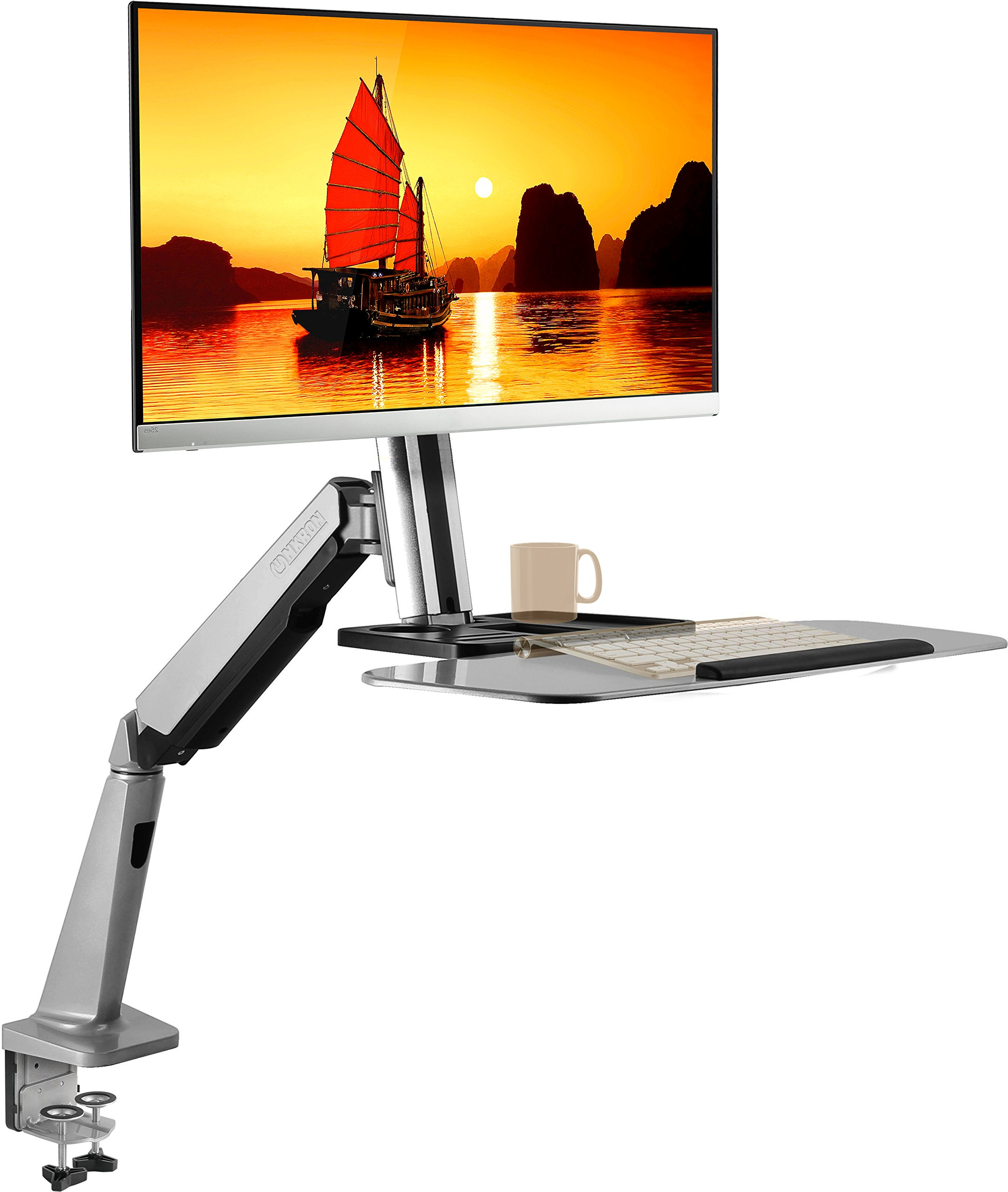 ONKRON Desk Mount Stand Up Workstation Single Monitor Mount Standing Desk Converter with Height Adjustable Keyboard & Counterbalance Monitor Arm for 13-32 Inch LCD LED Flat Panel Monitors W1GD Silver by ONKRON