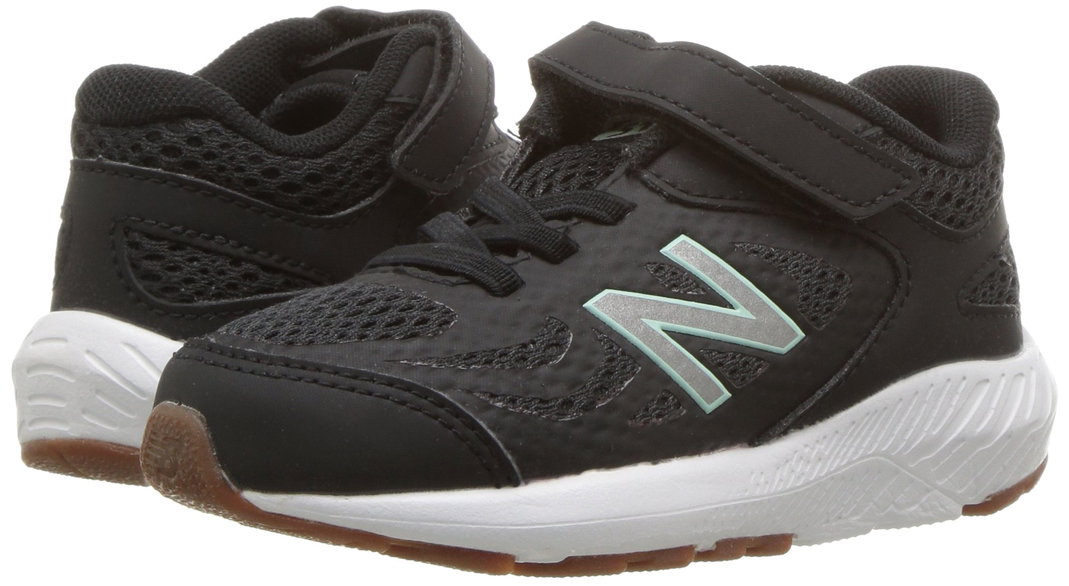 New Balance Girls' 519v1 Hook and Loop Running Shoe Black/Seafoam 2 M US Infant by New Balance (Image #6)