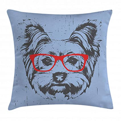 Ambesonne Yorkie Throw Pillow Cushion Cover, Yorkshire Terrier Portrait Red Nerd Glasses Tainted Backdrop Animal, Decorative Square Accent Pillow ...
