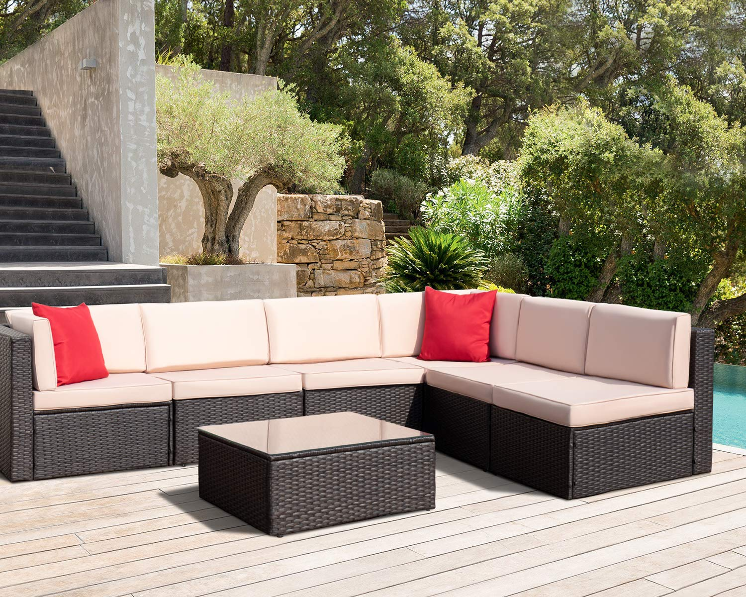 7 Pieces Patio Furniture Sets PE Wicker Rattan Outdoor Sectional Garden Set All-Weather Lawn Conversation Set with Glass Coffee Table and Beige Cushion Brown