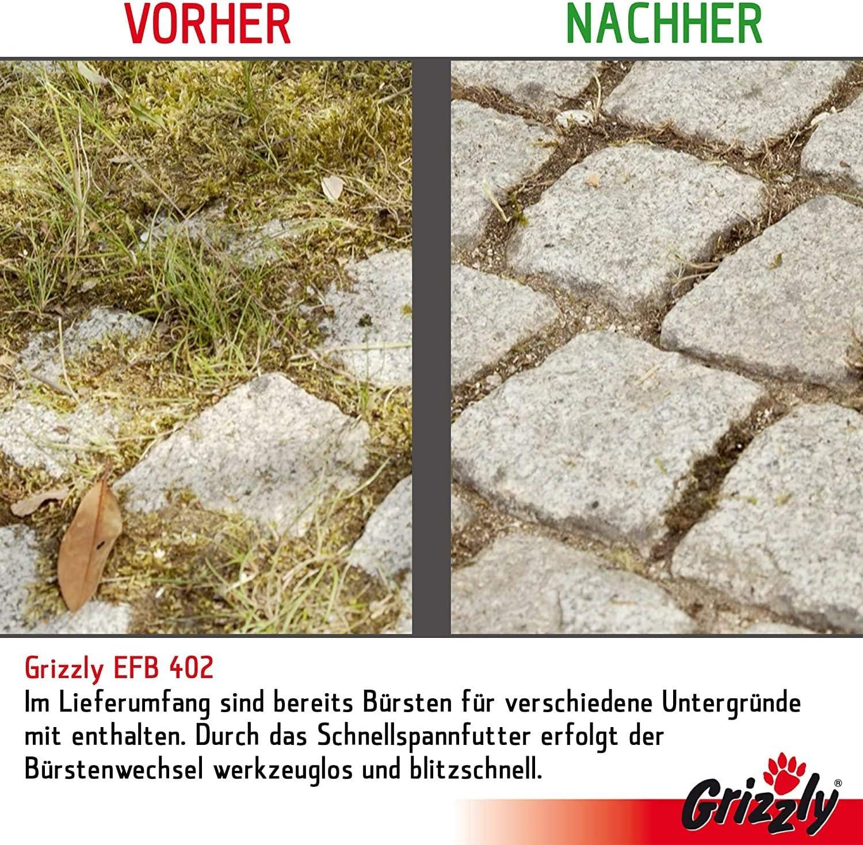 Fugenreiniger gegen Unkraut im Set mit 4 B/ürsten Grizzly elektrische Fugenb/ürste EFB 403