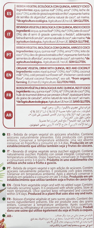 Bebida de quinoa, arroz y coco - Quinua Real - caja de 6 uds de 1000 ml. (Total 6000 ml.): Amazon.es: Alimentación y bebidas