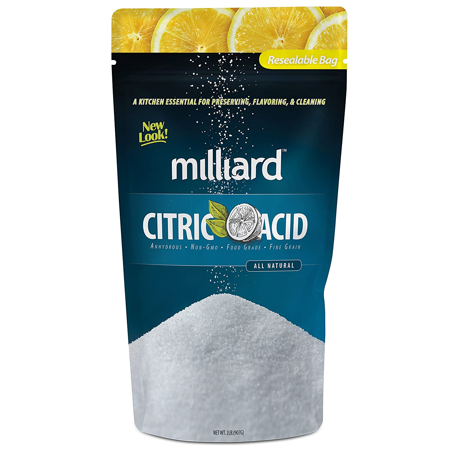 Milliard Citric Acid - 2 Pound - 100% Pure Food Grade NON-GMO