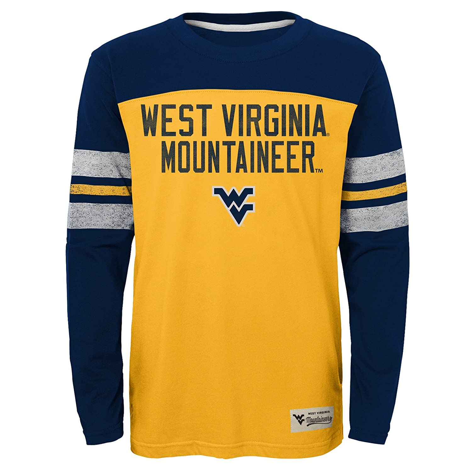 10-12 Youth Medium Gold NCAA by Outerstuff NCAA West Virginia Mountaineers Kids /& Youth Boys Legacy Tee Long Sleeve Crew