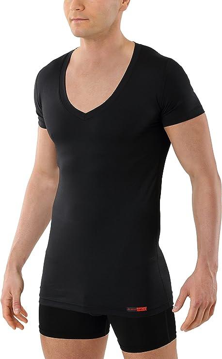 ALBERT KREUZ Camiseta Interior Negra para Hombre de Tejido técnico algodón-Coolmax® – antisudor, Piel Seca – de Manga Corta y Cuello de Pico Profundo: Amazon.es: Ropa y accesorios