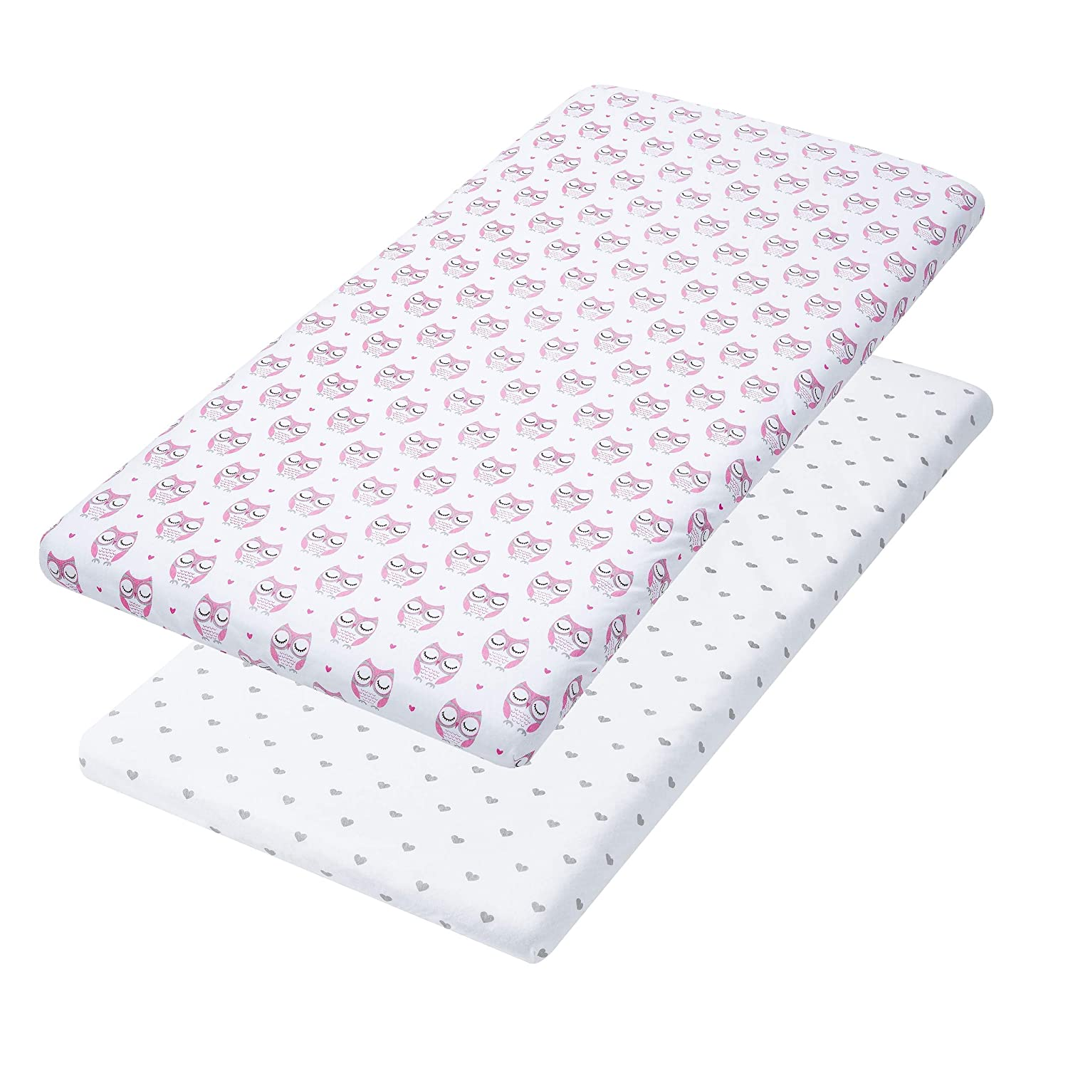 2 Pack Pink Owls /& Hearts Fitted Cotton Cradle Cover Leakproof Bassinet Sheets