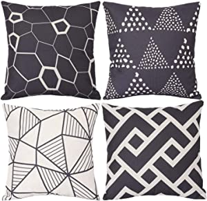 Wionee Modern Throw Pillow Cover 18x18 inch Pack of 4 Decorative Outdoor Pillows Case Covers for Couch Sofa Bed Living Room