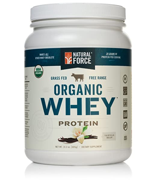 Natural Force® Organic Whey Protein Powder *RANKED #1 BEST TASTING* Grass Fed Whey - Undenatured Whey Protein - Raw Organic Whey, Paleo, Gluten Free Natural Whey Protein, Vanilla Bean, 14.3 oz.