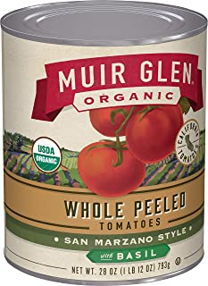 product image for Muir Glen, Organic Whole Peeled San Marzano Style Tomatoes With Basil, 12 Cans, 28 oz, 1.75 Pound (Pack of 12)