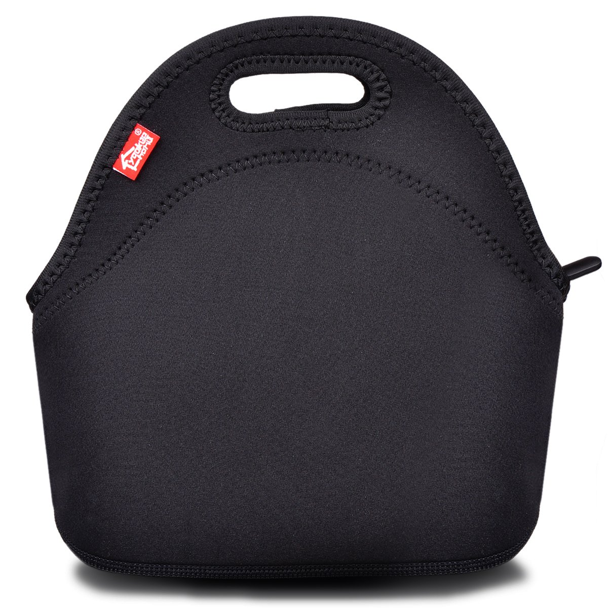 Black Neoprene Lunch Tote, Yookeehome Thick Reusable Insulated Thermal Lunch Bag Small Neoprene Lunch Box Carry Case Handbags Tote with Zipper for Adults Kids Nurse Teacher Work Outdoor Travel Picnic by youkee