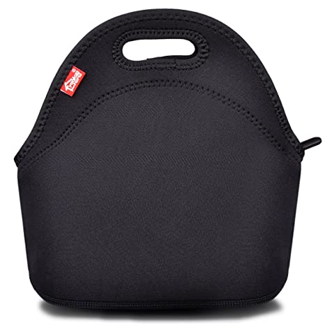 06e0fa5a9888 Black Neoprene Lunch Tote, Yookeehome Thick Reusable Insulated Thermal  Lunch Bag Small Neoprene Lunch Box Carry Case Handbags Tote with Zipper for  ...