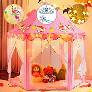 crayline Princess Castle Tent for Girls,Playhouse for Kids Indoor and Outdoor with Star Lights,Princess Tiara and Wand & Banners Decor. Toys for 2+ Year Old Girls,55''x 53'' (DxH)