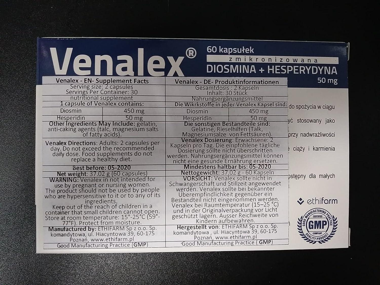 Venalex - 450 mg de diosmina y 50 mg de hesperidina 60 cápsulas para 30 días: Amazon.es: Salud y cuidado personal
